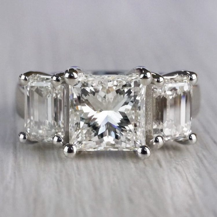 2.5 Ct. Princess Cut Diamond Ring With Side 2 Ct. Diamonds