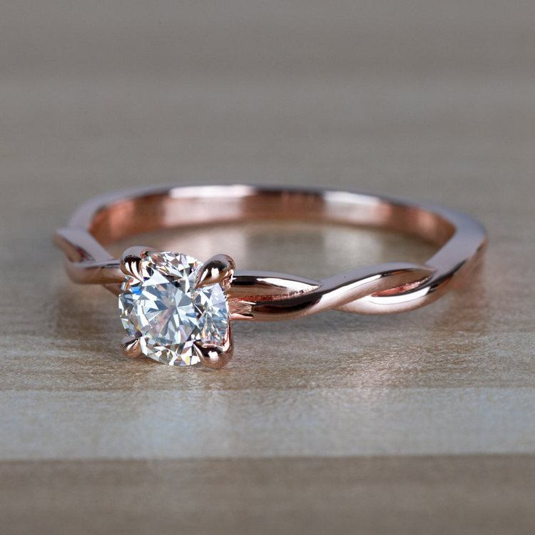 Stunning Rose Gold Twisted Solitaire Diamond Engagement Ring angle 2