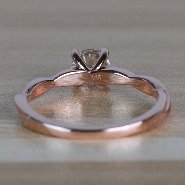 Stunning Rose Gold Twisted Solitaire Diamond Engagement Ring angle 4