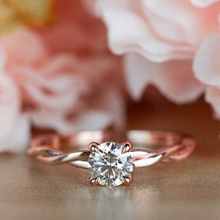 Stunning Rose Gold Twisted Solitaire Diamond Engagement Ring angle 5