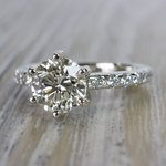 Stunning Six-Prong Round Cut Diamond Band Ring - small angle 2