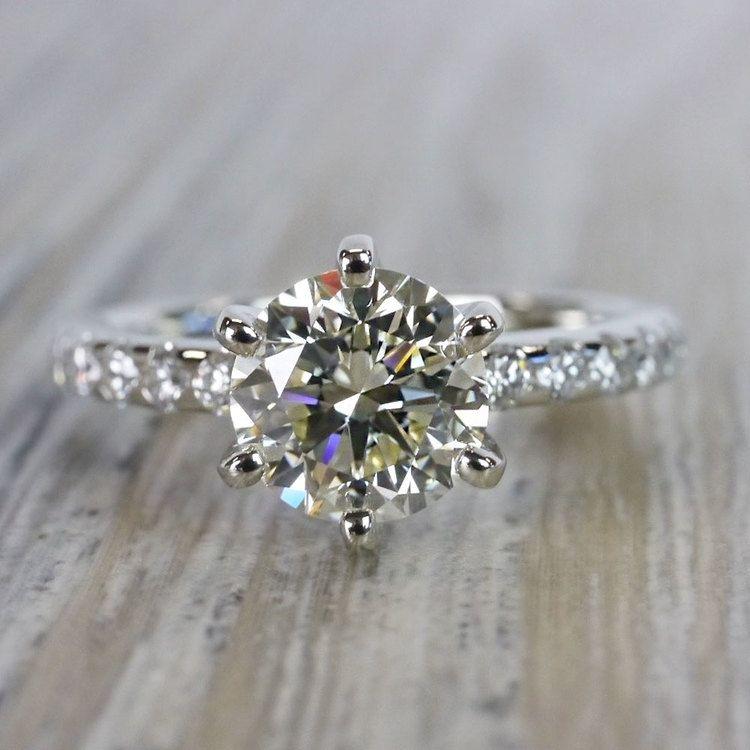 Stunning Six-Prong Round Cut Diamond Band Ring