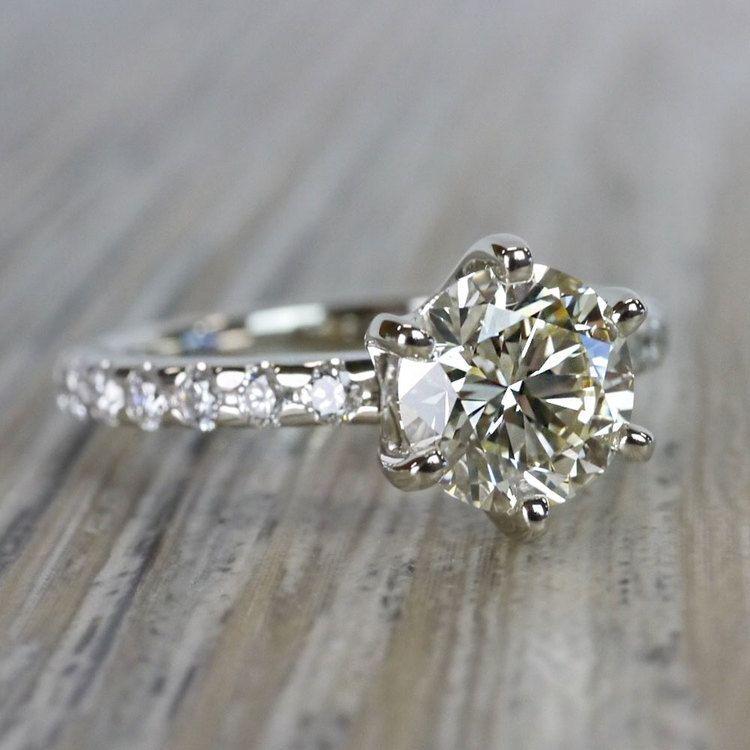 Stunning Six-Prong Round Cut Diamond Band Ring angle 3