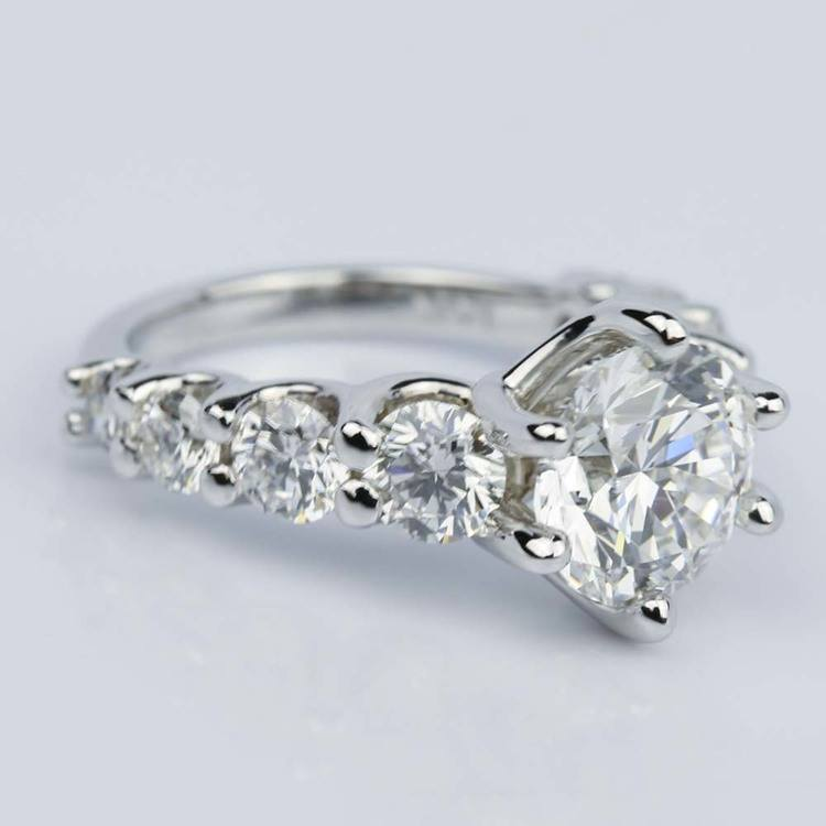 Stunning Nine-Diamond Trellis Engagement Ring in 14K White Gold (2.40 ct.) angle 3