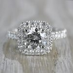 Stylish & Squared Round Cut Diamond Halo Ring - small