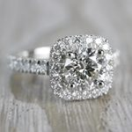 Stylish & Squared Round Cut Diamond Halo Ring - small angle 3