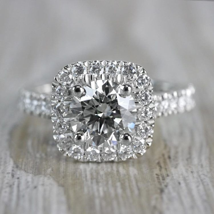 Stylish & Squared Round Cut Diamond Halo Ring