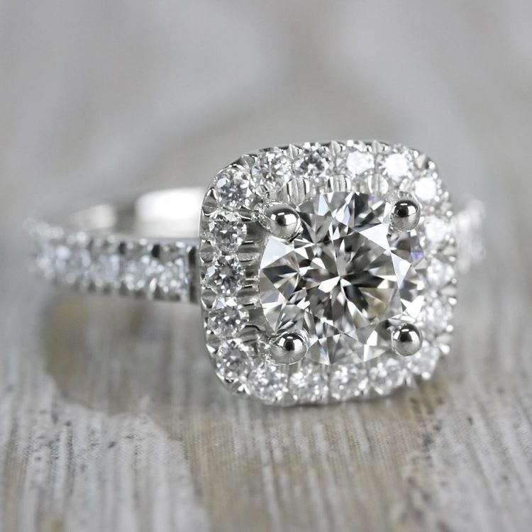 Stylish & Squared Round Cut Diamond Halo Ring angle 3