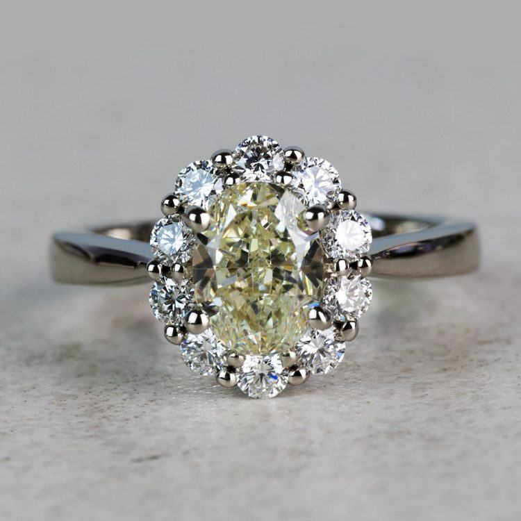 Summer Floral Halo Oval Diamond Engagement Ring