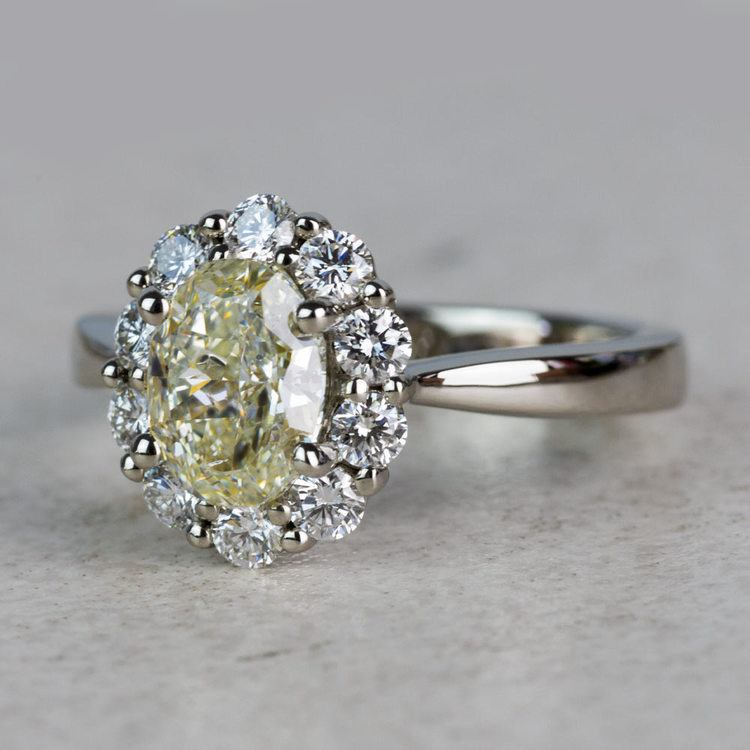 Summer Floral Halo Oval Diamond Engagement Ring angle 2