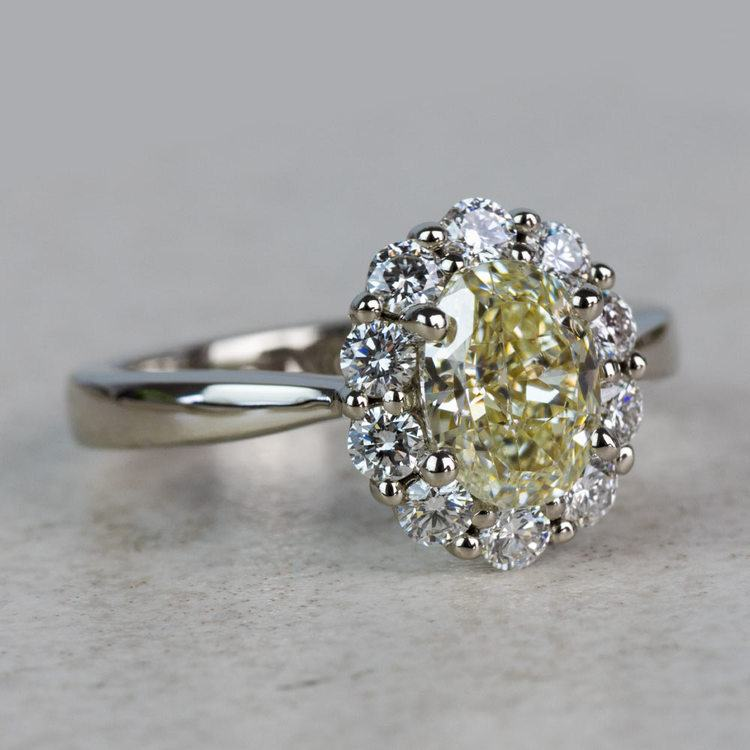 Summer Floral Halo Oval Diamond Engagement Ring angle 3