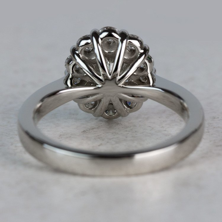 Summer Floral Halo Oval Diamond Engagement Ring angle 4