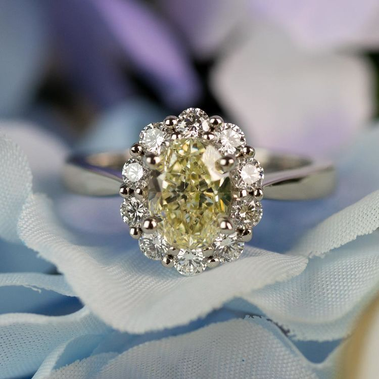 Summer Floral Halo Oval Diamond Engagement Ring angle 5