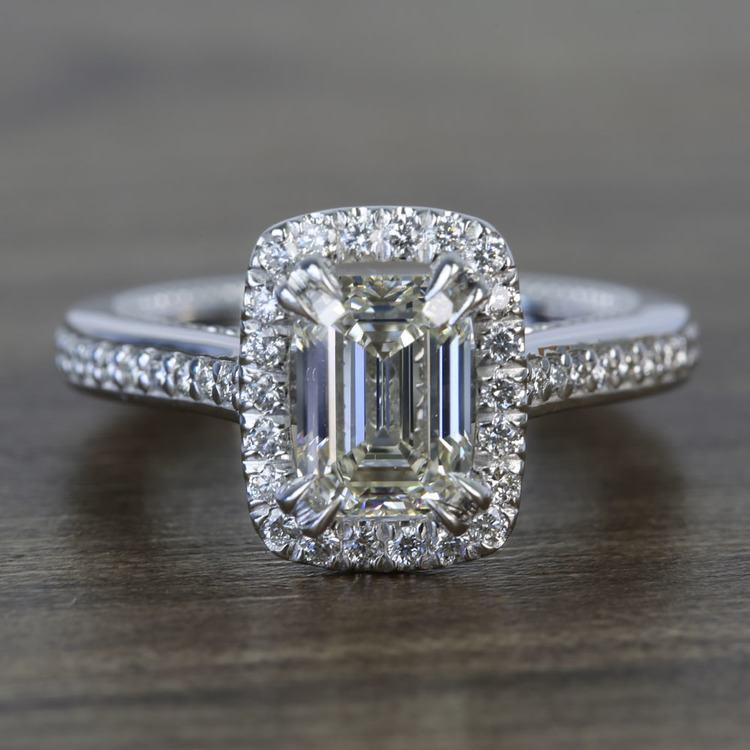 Sunrise Halo 2 Carat Emerald Diamond Engagement Ring