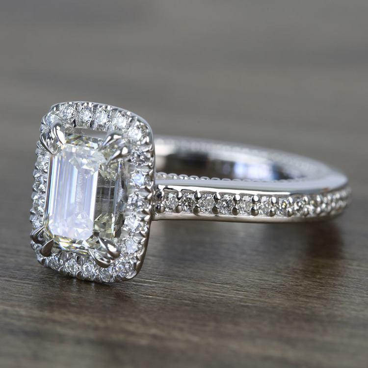 Sunrise Halo 2 Carat Emerald Diamond Engagement Ring angle 2