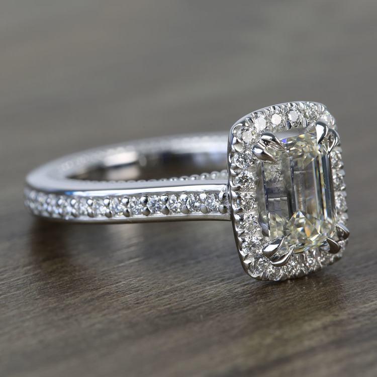 Sunrise Halo 2 Carat Emerald Diamond Engagement Ring angle 3
