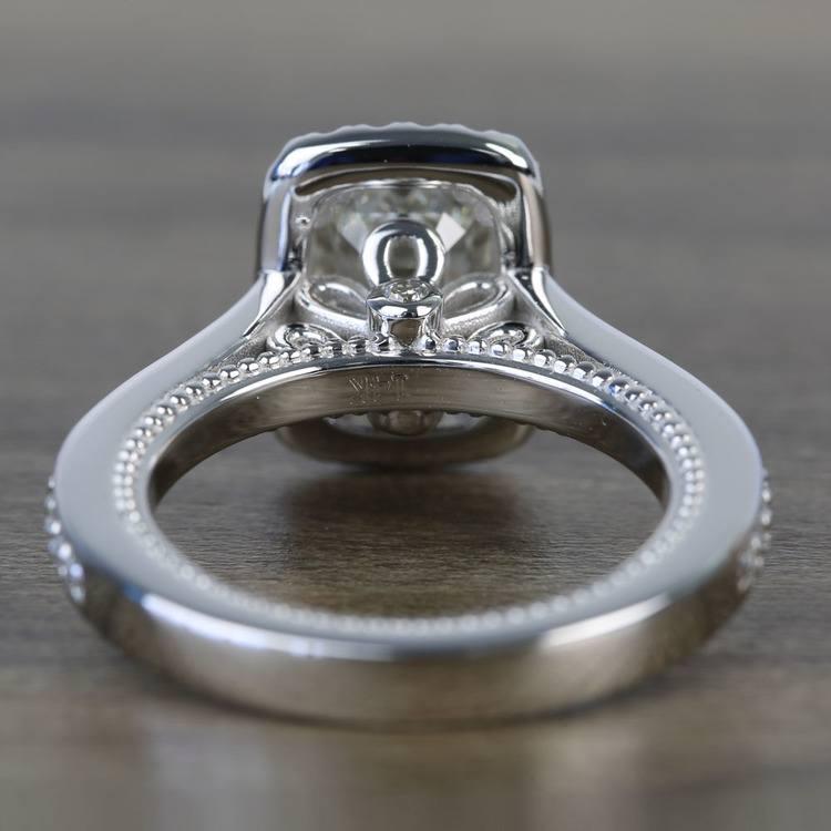 Sunrise Halo 2 Carat Emerald Diamond Engagement Ring angle 4