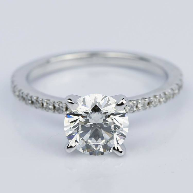 Super Ideal Round-Cut Diamond with Pave Ring Setting (1.38 ct.)