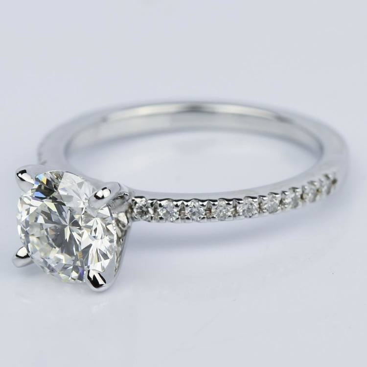 Super Ideal Round-Cut Diamond with Pave Ring Setting (1.38 ct.) angle 2