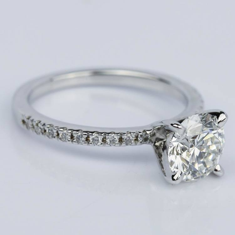 Super Ideal Round-Cut Diamond with Pave Ring Setting (1.38 ct.) angle 3