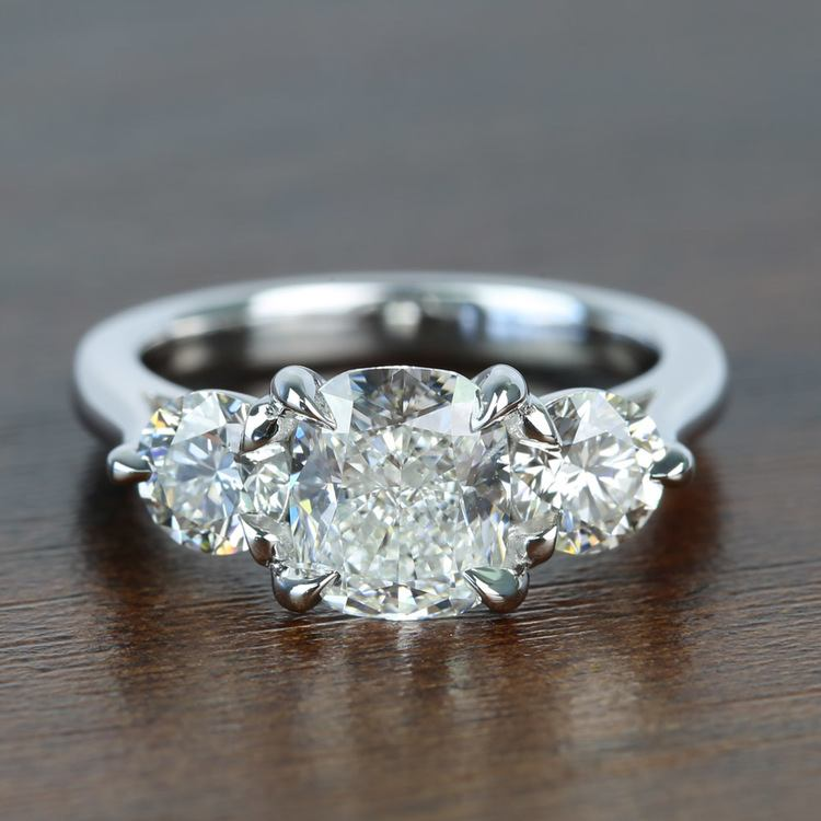 Surprise Three Stone Custom 1.72 Carat Cushion Diamond Engagement Ring