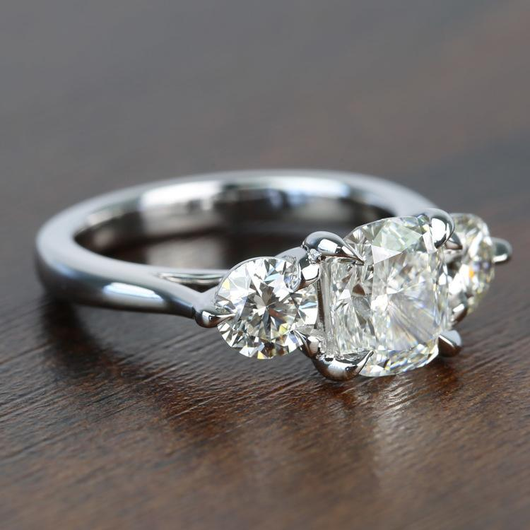 Surprise Three Stone Custom 1.72 Carat Cushion Diamond Engagement Ring angle 3