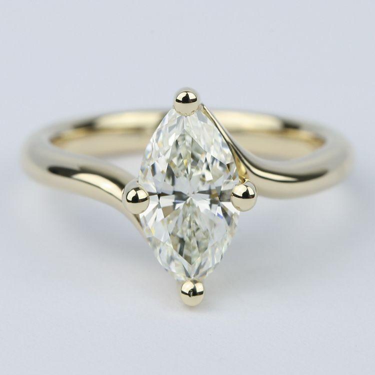 Swirl Style Marquise Diamond Engagement Ring