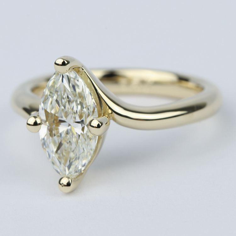Swirl Style Marquise Diamond Engagement Ring angle 2