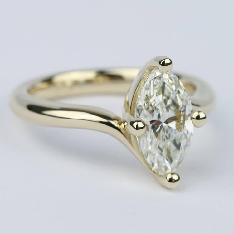 Swirl Style Marquise Diamond Engagement Ring angle 3