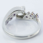 Swirl Style Amethyst Engagement Ring with Cushion Diamond  - small angle 4