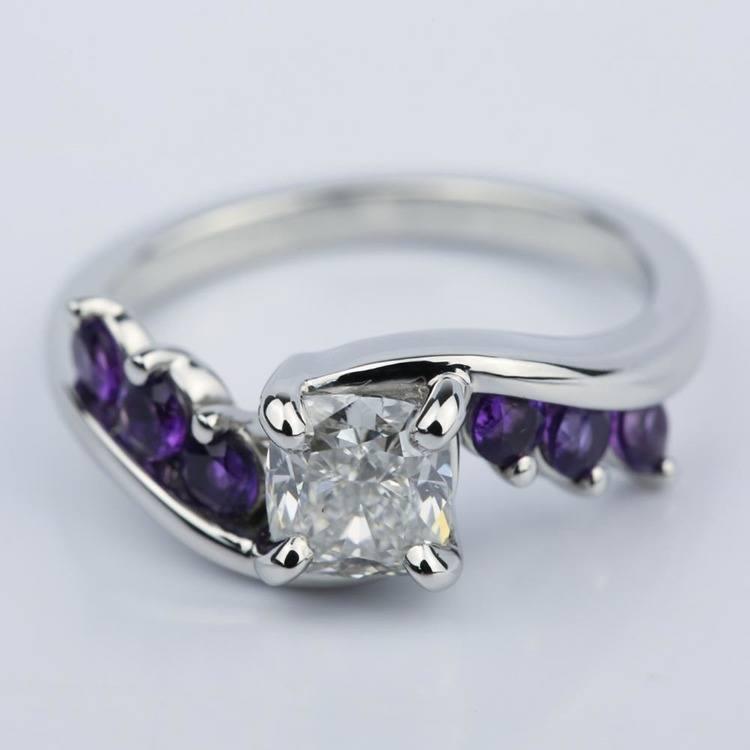 Swirl Style Amethyst Engagement Ring with Cushion Diamond