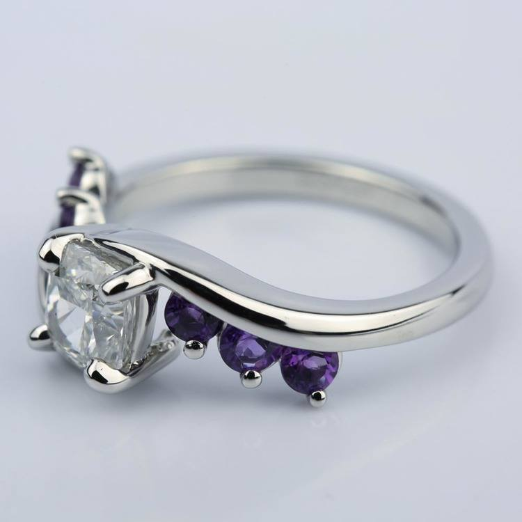 Swirl Style Amethyst Engagement Ring with Cushion Diamond  angle 2