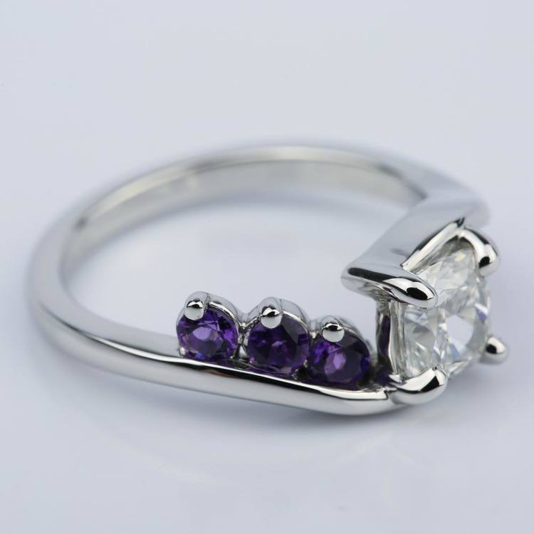 Swirl Style Amethyst Engagement Ring with Cushion Diamond  angle 3