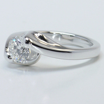 Swirl Style Custom 0.80 Carat Round Solitaire Diamond Engagement Ring - small angle 2