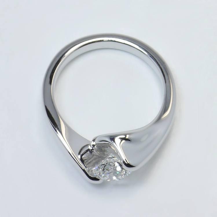 Swirl Style Custom 0.80 Carat Round Solitaire Diamond Engagement Ring angle 4