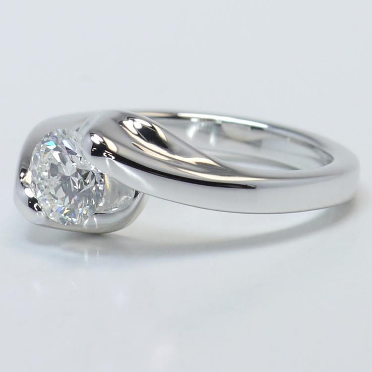 Swirl Style Custom 0.80 Carat Round Solitaire Diamond Engagement Ring angle 2
