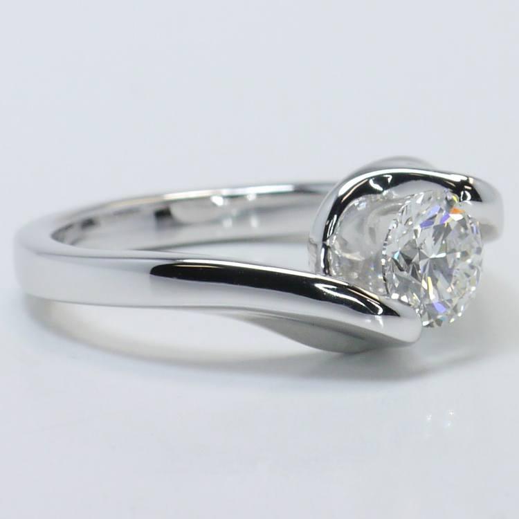 Swirl Style Custom 0.80 Carat Round Solitaire Diamond Engagement Ring angle 3