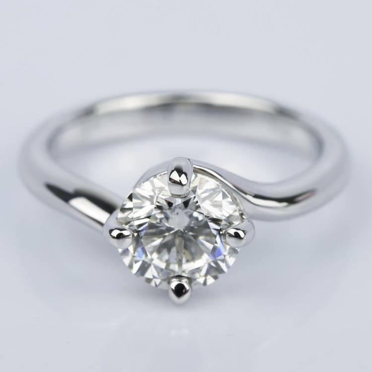 Swirl Style Diamond Solitaire Engagement Ring (1.31 ct.)