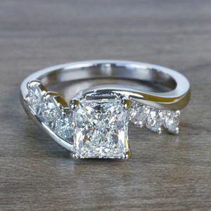 Swirl Style Radiant Diamond Engagement Ring