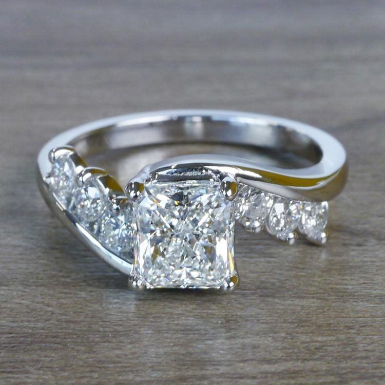 Swirl Style Radiant Diamond Engagement Ring