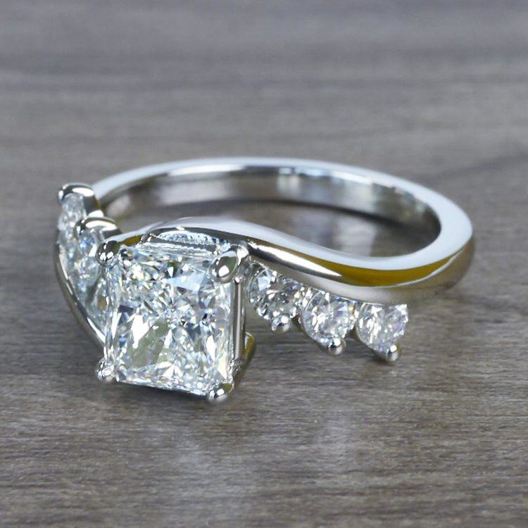 Swirl Style Radiant Diamond Engagement Ring angle 2