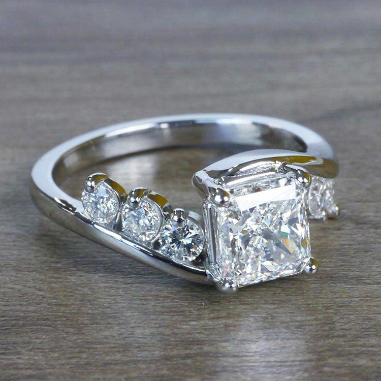 Swirl Style Radiant Diamond Engagement Ring angle 3