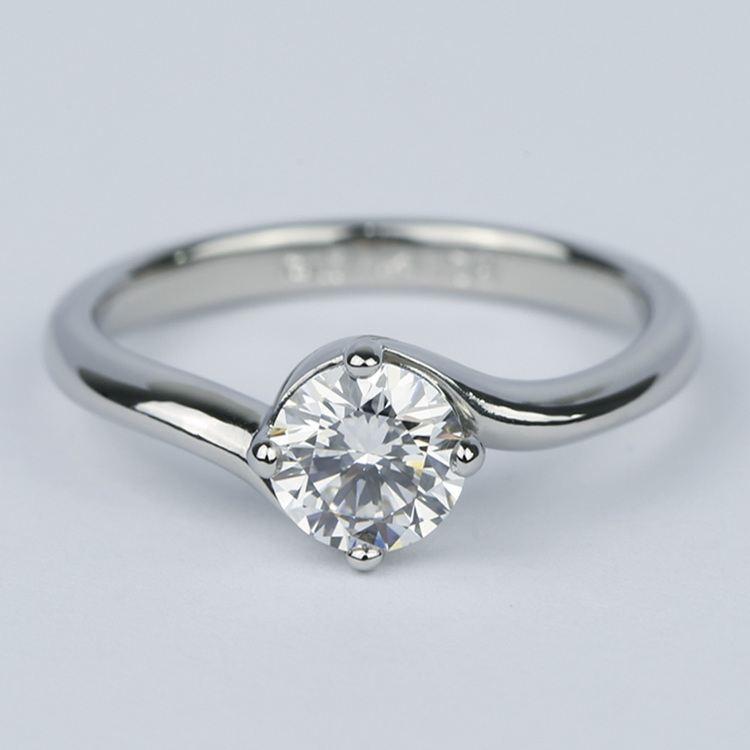 Swirl Style Round Diamond Solitaire Engagement Ring (0.81 ct.)