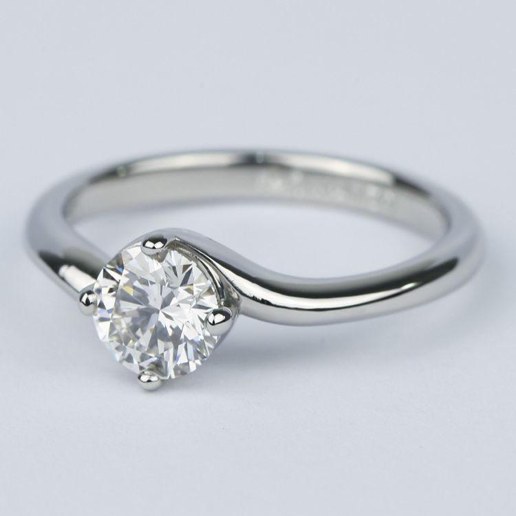 Swirl Style Round Diamond Solitaire Engagement Ring (0.81 ct.) angle 2
