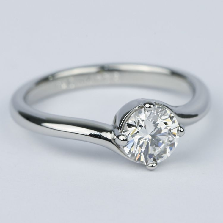 Swirl Style Round Diamond Solitaire Engagement Ring (0.81 ct.) angle 3