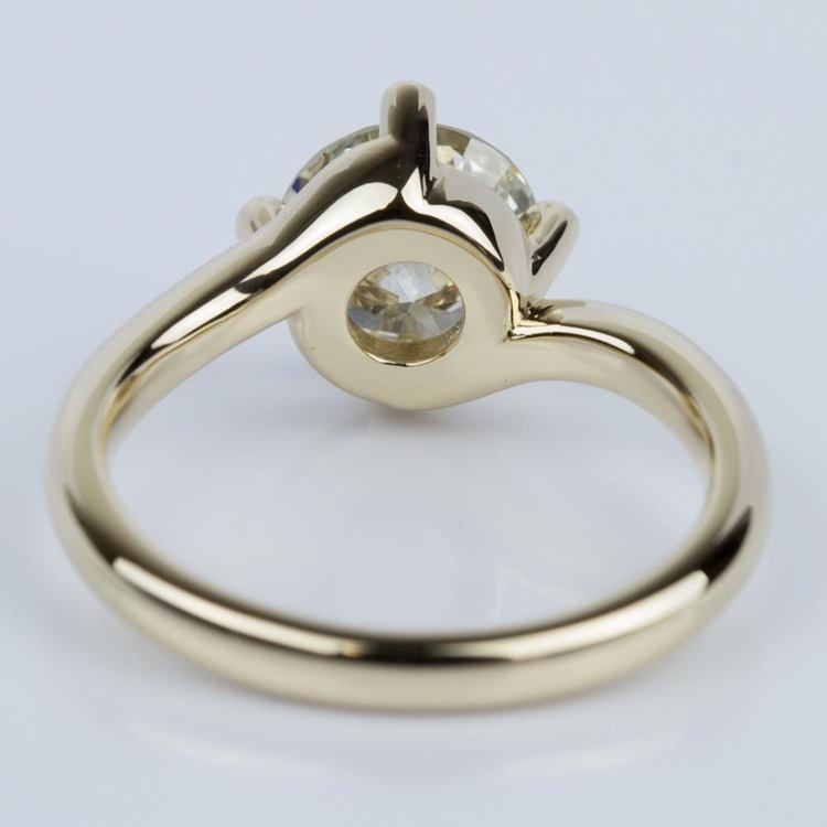 Swirl Style Solitaire Engagement Ring in Yellow Gold (1.60 ct.) angle 4