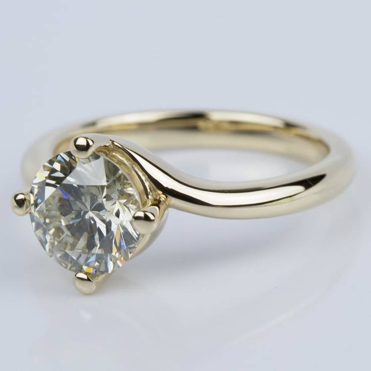 Swirl Style Solitaire Engagement Ring in Yellow Gold (1.60 ct.) angle 2