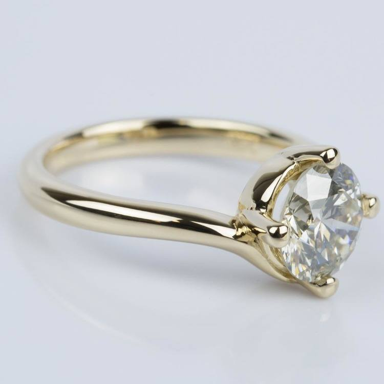 Swirl Style Solitaire Engagement Ring in Yellow Gold (1.60 ct.) angle 3