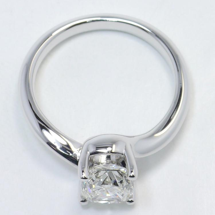 1.40 Carat Cushion Swirl Style Solitaire Diamond Engagement Ring angle 4