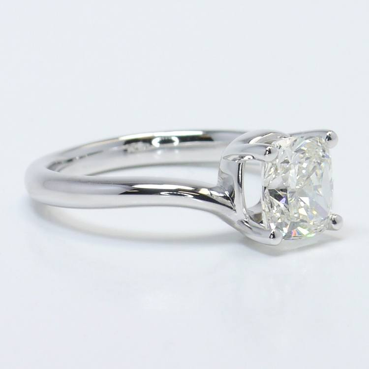 1.40 Carat Cushion Swirl Style Solitaire Diamond Engagement Ring angle 3